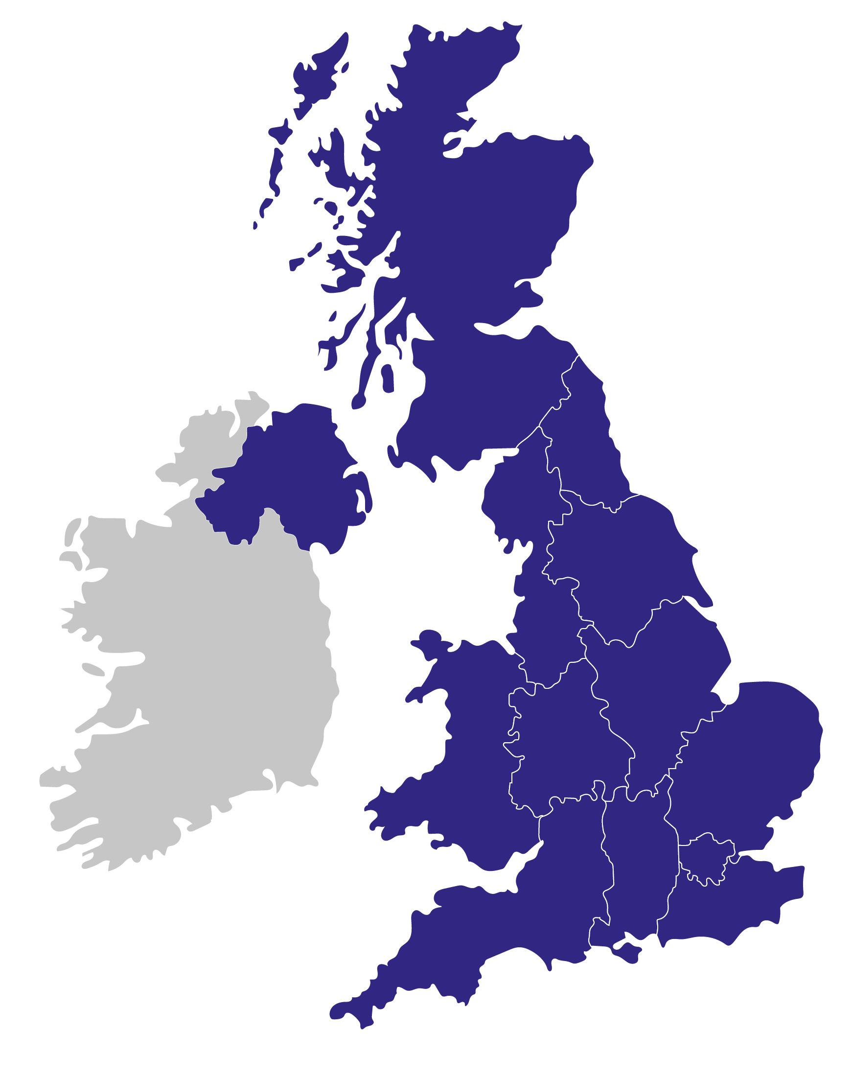 Map of the UK divided into regions